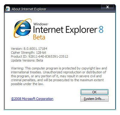 Internet explorer 8-й версії.