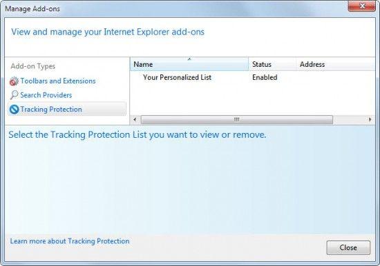 Internet explorer 9 списки відстеження захисту.