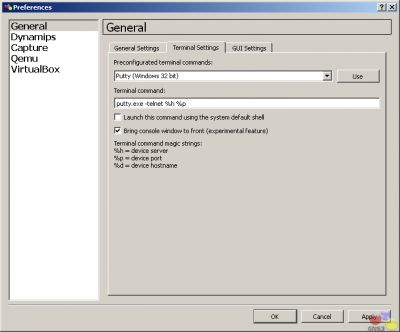 Використання терміналу програми gns3.