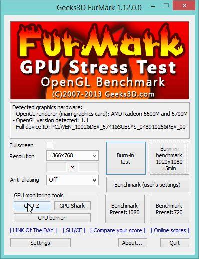 Тестування відеокарти за допомогою FurMark