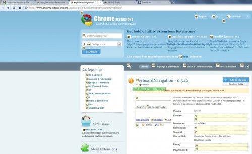 Навігація за допомогою клавіатури в google chrome.