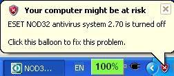 Відключення центру безпеки в windows xp.