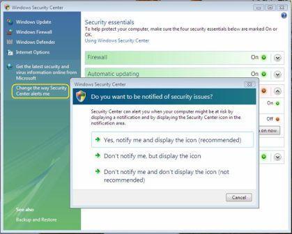 Відключення сповіщень центру безпеки в windows xp і vista.