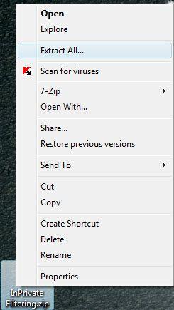 Зберегти filtering inprivate завжди включеною.