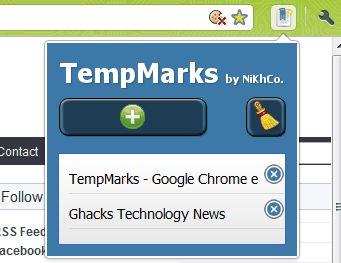Temparks зберігання тимчасових закладок в google chrome.