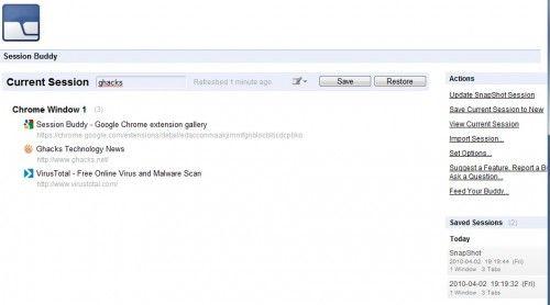Управління сесіями в google chrome розширення session buddy.