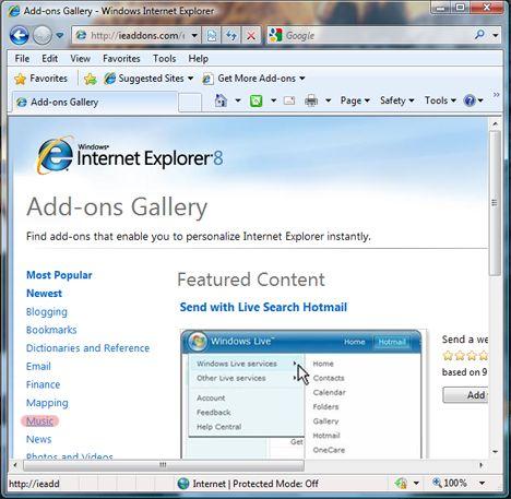 Установка доповнень до internet explorer 8.